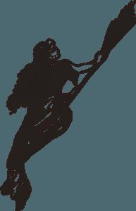 Hexe auf einem Besen zur Walpurgisnacht