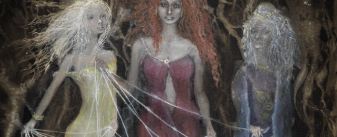 Drei Nornen - Verdandi, Schwester von Urd und Skuld - Schicksalsfäden